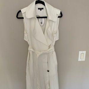 New white sleeveless trench overlay